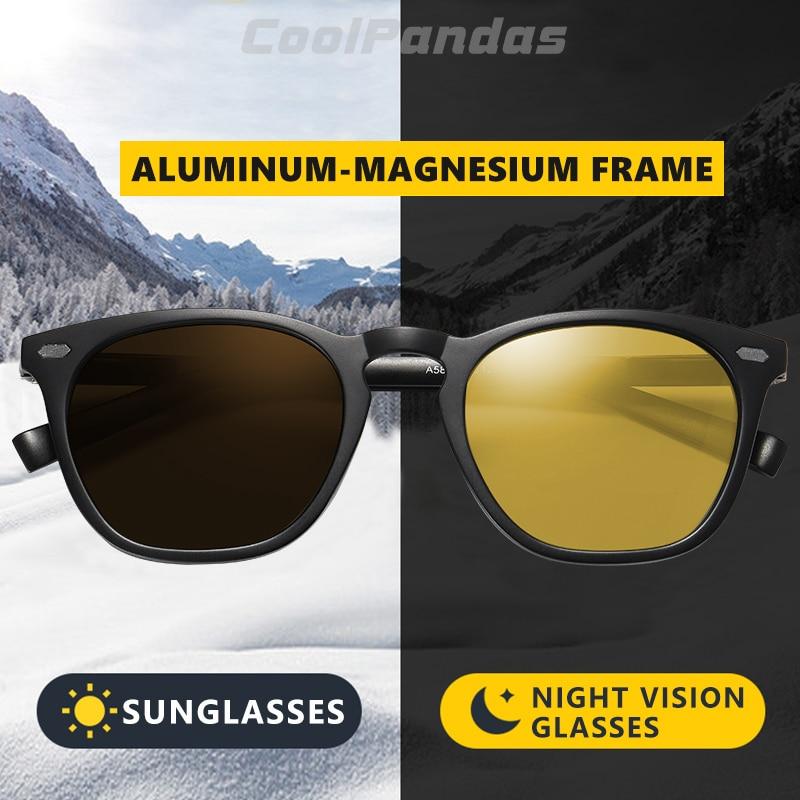 CoolPandas Retro Women Cat Eye Sunglasses Photochromic HD Polarized Men Sun Glasses Day Night Vision Oculos gafas de sol mujer