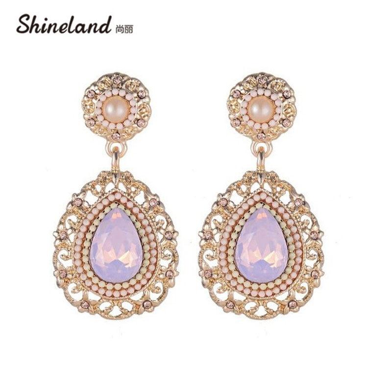 Shineland Elegant Luxury Big Water Drop Dangle Earrings Crystal CZ Bling Pink Beads Brincos for Women Girl Wholesale Cheap Price