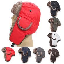 Adult Unisex Ski Bomber Hat Winter Windproof Trapper Trooper Earflap Warm Cap Warm Hat with Ear Flap