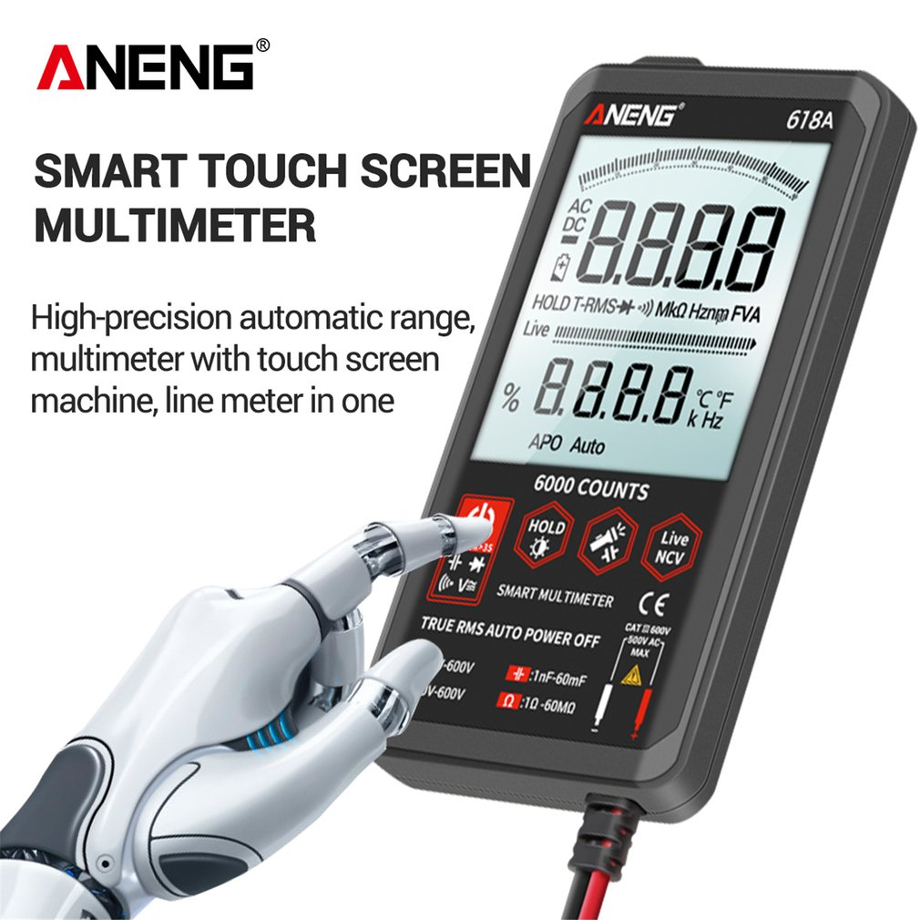 Multímetro Digital pantalla táctil inteligente DC barra analógica probador de valores eficaces verdaderos 6000 recuentos condensador Transistor NCV medidor probadores