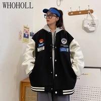 oversized jacket harajuku casual bomber jacket vintage jacket baseball jacket college korean fashion womens clothing 2021 slim