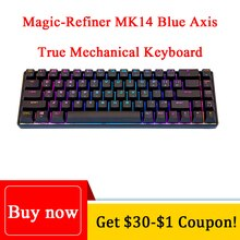 Механическая игровая клавиатура Magic-Refiner MK14 RGB подсветка 68 клавиш синяя ось металлическая панель N-key клавишная плата Проводная игровая клавиатура