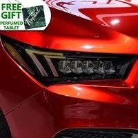 2 pcs car headlight protective film restoration protection transparent black tpu sticker for acura mdx 2017 2020 accessories