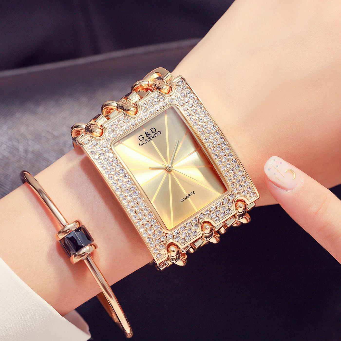 G&D 2021 New Casual Fashion Women's Bracelet Watch Three Chain Diamond Quartz Watch Free Shipping enlarge