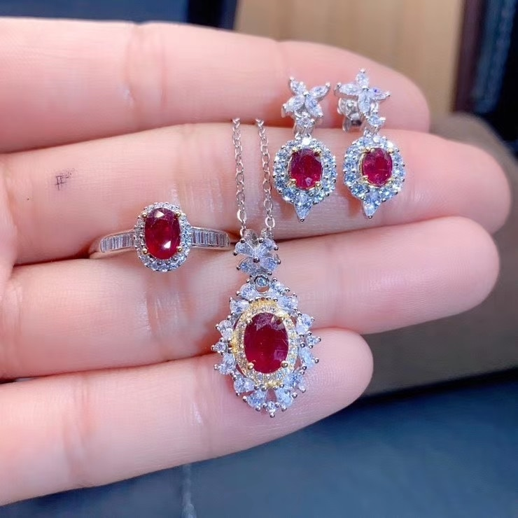 MDINA Natural Pigeon Blood Red Ruby Wedding Jewelry Flower Sets 925 Silver Earrings Ring Pendant Necklace Three-piece Suite