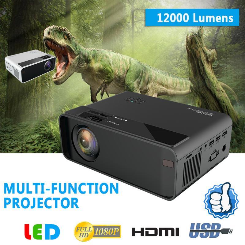 12000 لومينز 1080P جهاز عرض (بروجكتور) ليد 3D المسرح المنزلي سينما الكشافات دعم HDMI-Compataible/VGA/USB/التلفزيون 3.5 مللي متر المنزل مشغل الوسائط