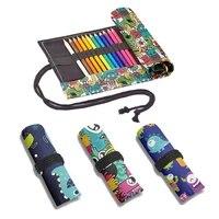 monster print canvas pen bag fashion cute student school art painting boy storage pen bag 1224364872 holes roll pencil case