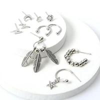 boho heart moon beads hoop earrings set fashion silver color leaves star dangle earrings set women party jewelry set gift 2020