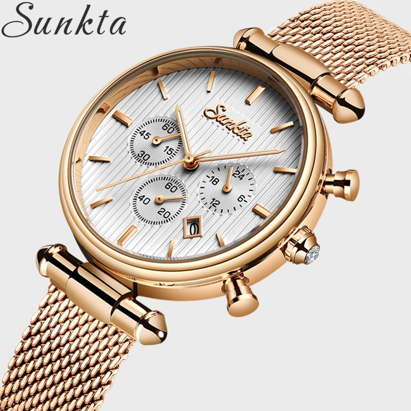 2021 SUNKTA Hot Luxury Watch Women Waterproof Rose Gold Steel Strap Ladies Wrist Watches Top Brand Date Clock Relogio Feminino enlarge