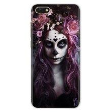 Para sony xperia z5 xz xa1 xa2 premium ultra 10 x l2 catrina bela rosa menina crânio personalizado silicone caso de telefone
