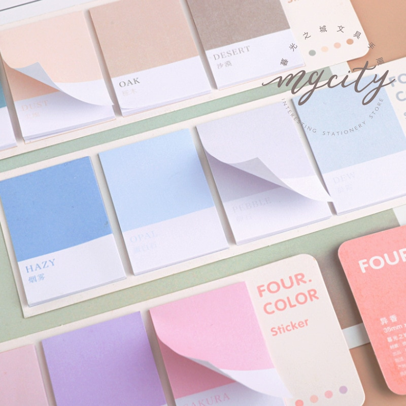 80sheets/pack Four Color Sticky Notes Index Memo Pad Bookmarks Cute Scheduler Paper Stickers Kids St