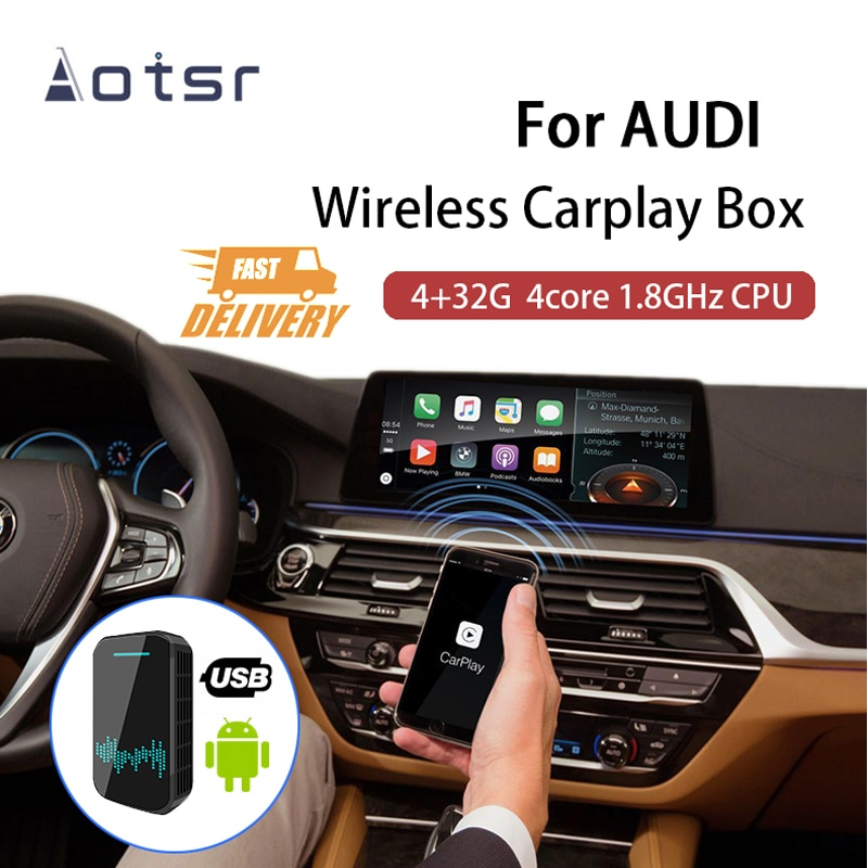 Get AOTSR Wireless Carplay Box 4+32G Android 9.0 For Apple For AUDI A3 A4L Avant Allroad A5 A6L A7 A8L Q3 Q2 Q5L Q7 S5 S6 S7 S8 Q8