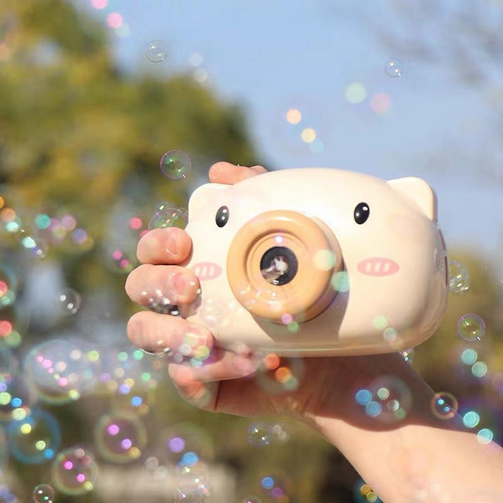 Cámara de burbujas de cerdo eléctrico de dibujos animados, cámara musical romántica, juguetes de burbujas para niños, máquina de burbujas de jabón completamente automática