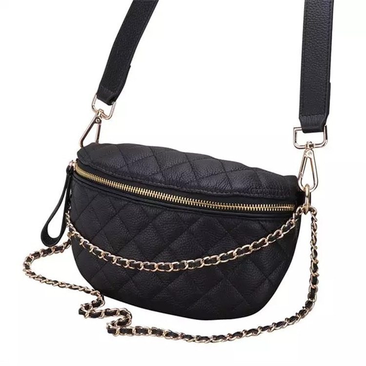 حقيقي جلد المرأة منقوشة سلسلة الخصر حزم حقيبة بحزام