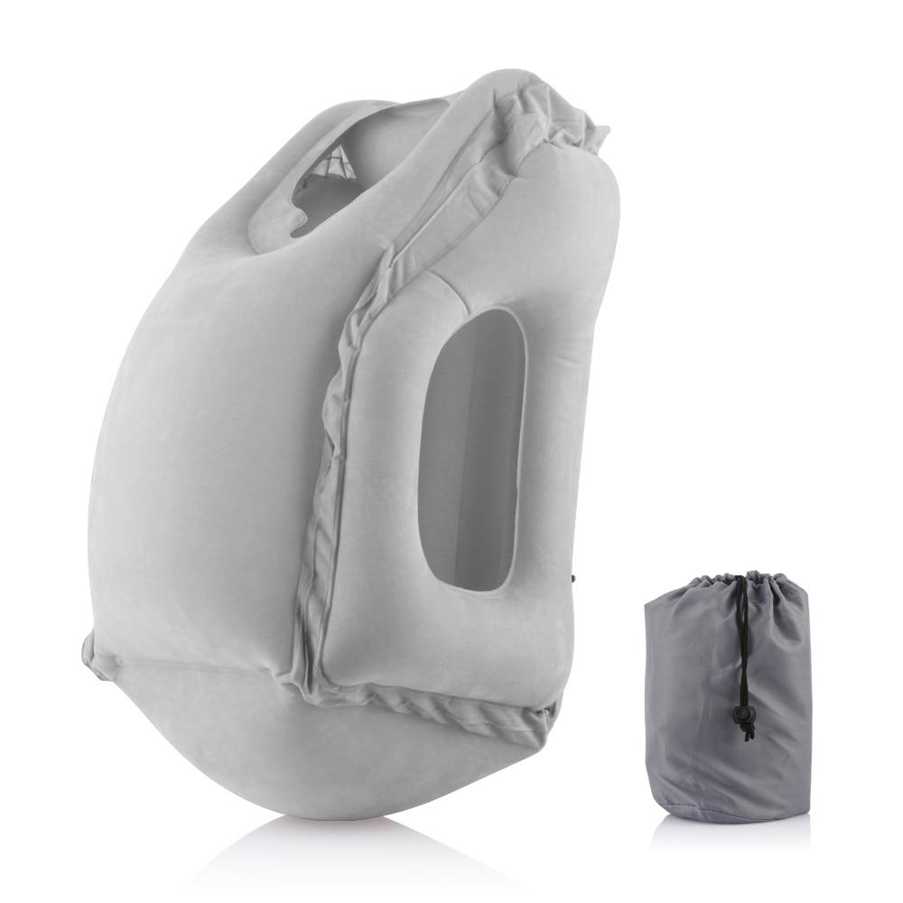 Almohada inflable de viaje, almohada de viaje con aire, cojín suave para el hogar y el cuello, almohada portátil