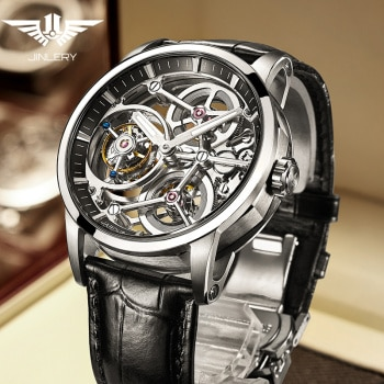 JINLERY Automatic Watch for Men Tourbillon Watch Nine-Position Men Watches Skeleton Luxury Watches Leather 2021 New часы мужские