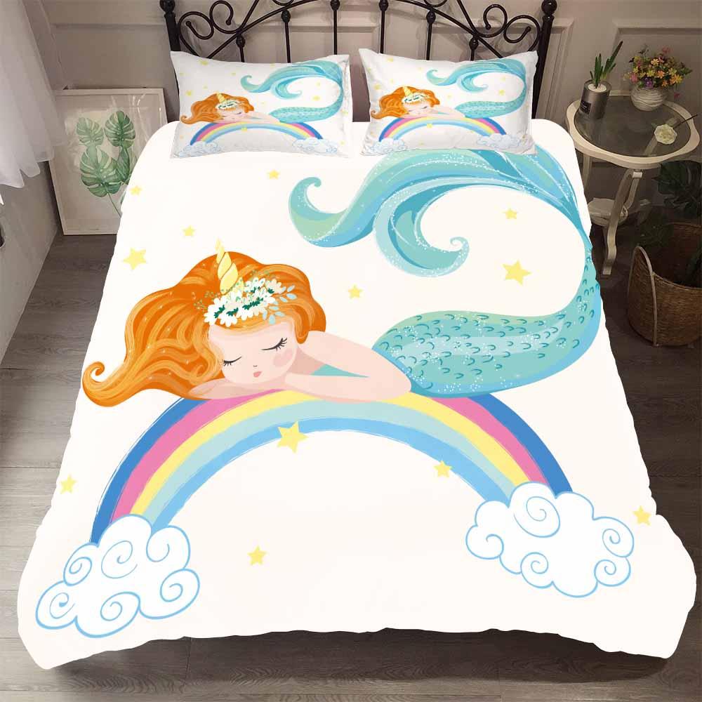Unicórnio de dormir rainbow sereia conjunto cama único rei capa edredão casa consolador conjuntos cama menina inverno colcha capa fronha