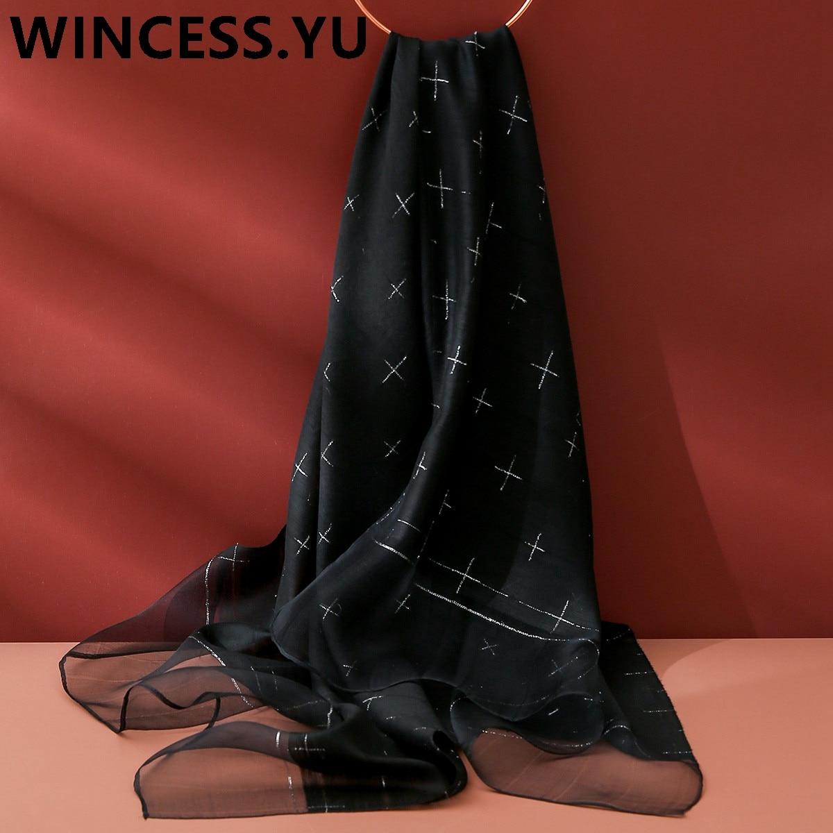 fashion women silk scarf rectangle spring autumn pashmina shawls hijab scarf for women luxury shawls