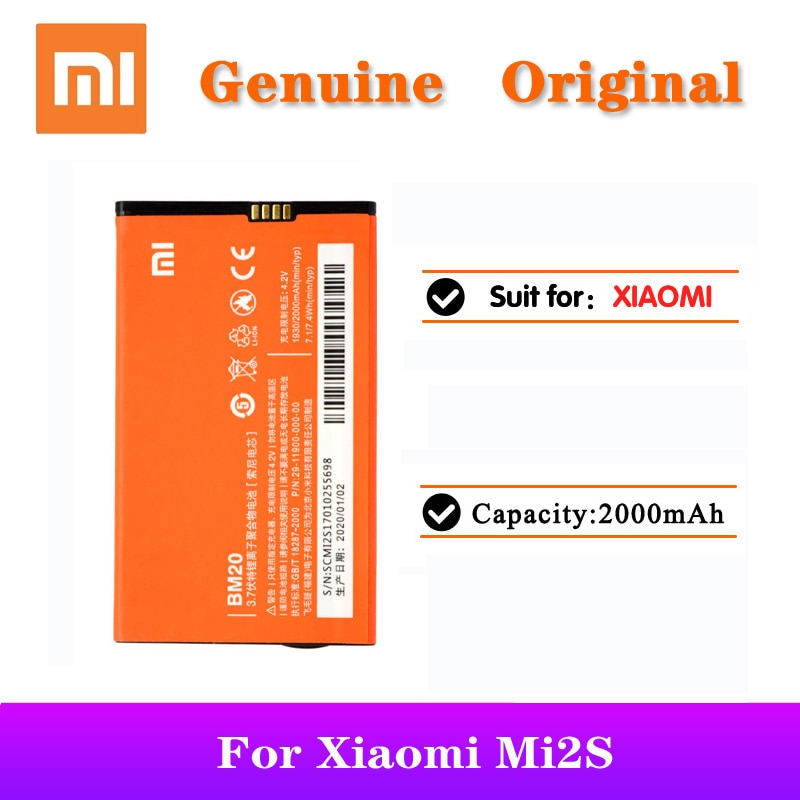 100% Original Xiaomi BM20 Battery bm20 For Xiaomi Mi2S Mi2 M2 Mi 2 Mobile Phone Replacement Batteries 2000mAh Capacity