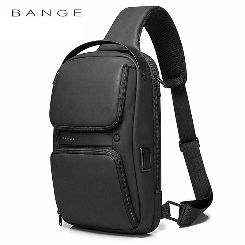 BANGE-حقيبة كروس متعددة الوظائف للرجال ، سعة كبيرة ، USB ، حقيبة كتف ، حقيبة ظهر مقاومة للماء