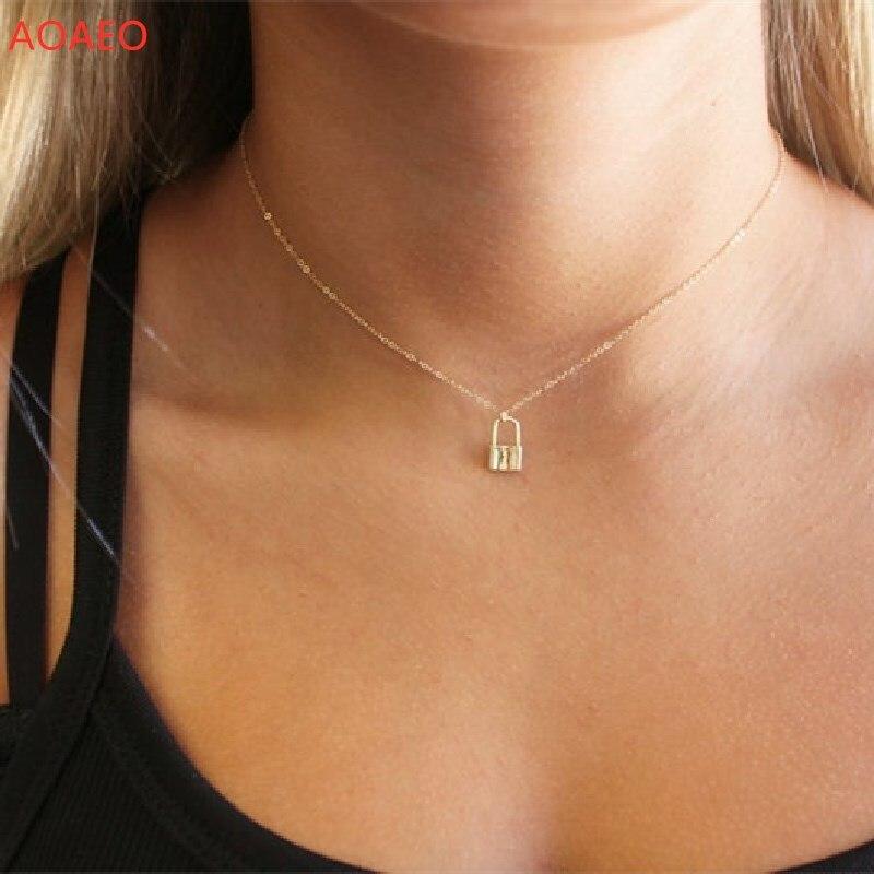 Colar de bloqueio minúsculo, colar delicado, jóias de ouro, colar de camada, presentes para ela, colares para mulher, cadeado necklac