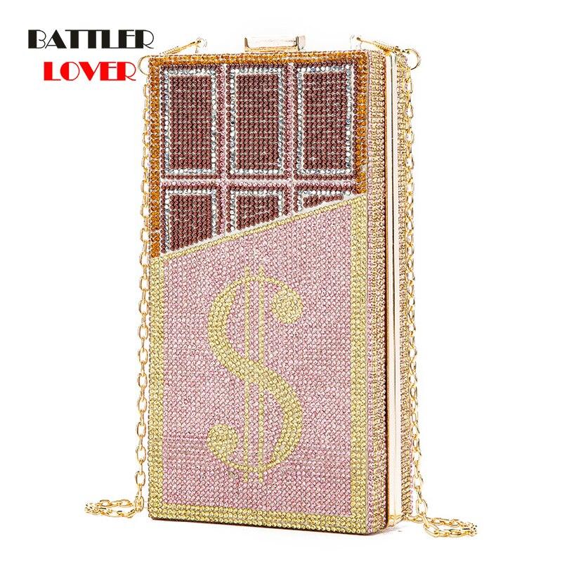 حقيبة يد نسائية مطرزة بالدولار ، حقيبة سهرة ، ألماس ، شوكولاتة ، لحفلات الزفاف