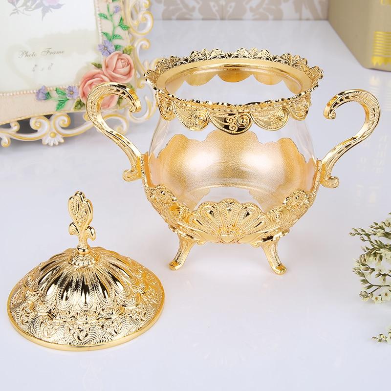 Cuenco de azucar de vidrio con tapa para cocina recipiente de metal...