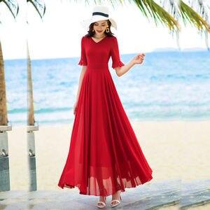 2021 New Summer Middle Aaged Women Chiffon V Neck Slim Ruffles Long Dress Female Beach Mother Fashion Dresses Vestitos D67