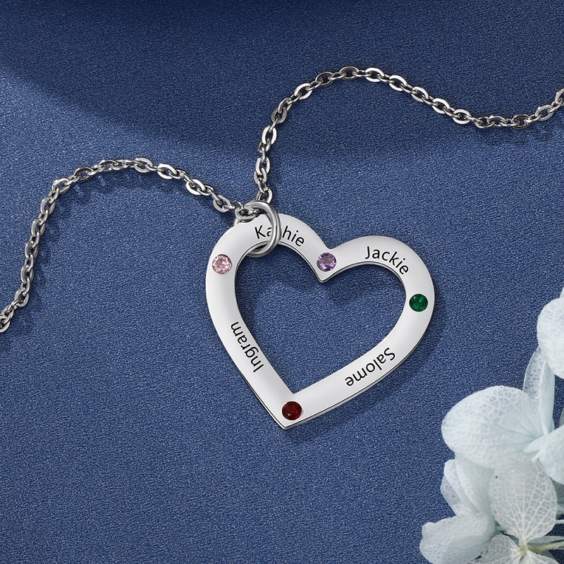 swarovski aila day heart 5242514 DIY Engraved Birthstone Heart Necklace Customized Name Necklace Family in Your Heart Jewelry Chain For Mom Mother'S Day Gifts