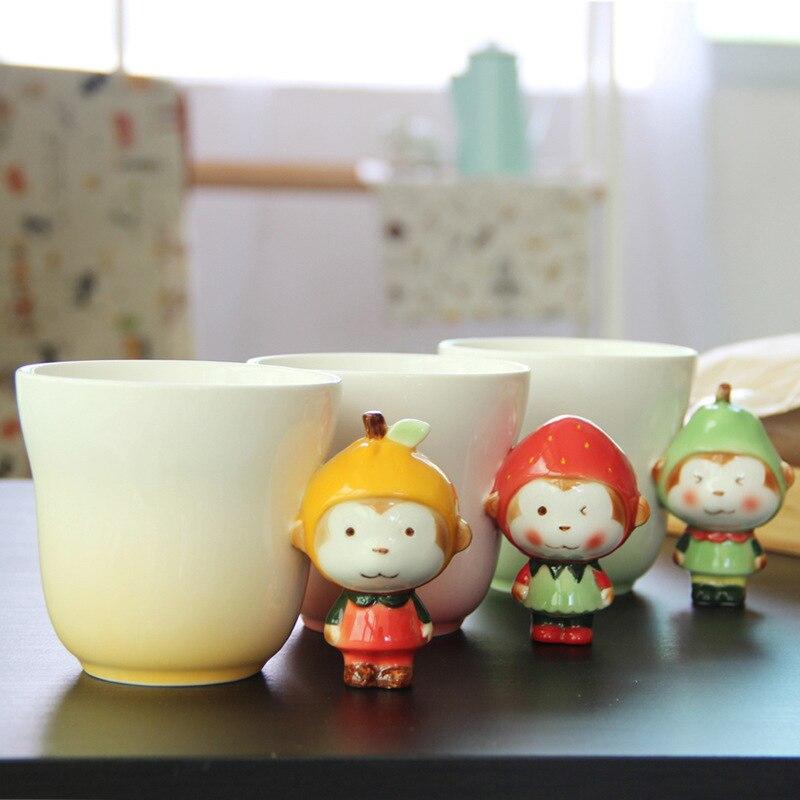 360ml de mono de dibujos animados tazas de cerámica fruta lindo café tazas con asa de gran capacidad hogar desayuno leche tazas para niños