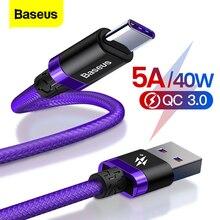 Câble USB Type C Baseus 5A pour téléphone portable Huawei Mate 30 P30 P20 Pro Lite câble chargeur rapide USBC câble USB-C type-c