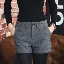 Koreaanse Wollen Shorts Vrouwen 2019 Winter Mini Korte Broek Feminino Herfst Rits Up Pocket Knoppen Plaid Bodem Femme S-XL