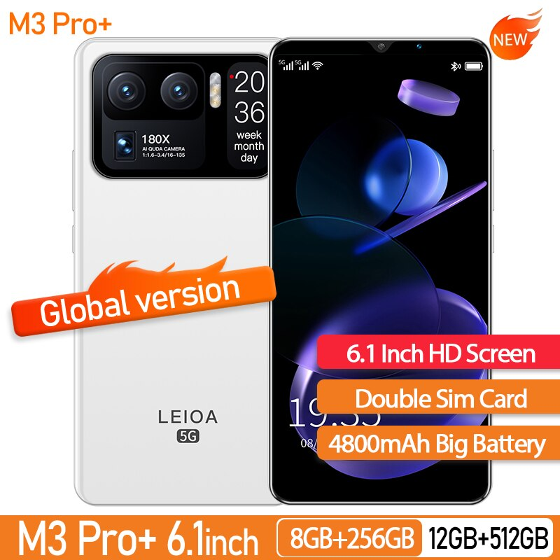 Global Version M3 Pro+ 6.1 Inch Smartphone 4800mAh 8+128GB 24+48MP 10 Core HD Unlocked Support Google GPS 5G Cellphone
