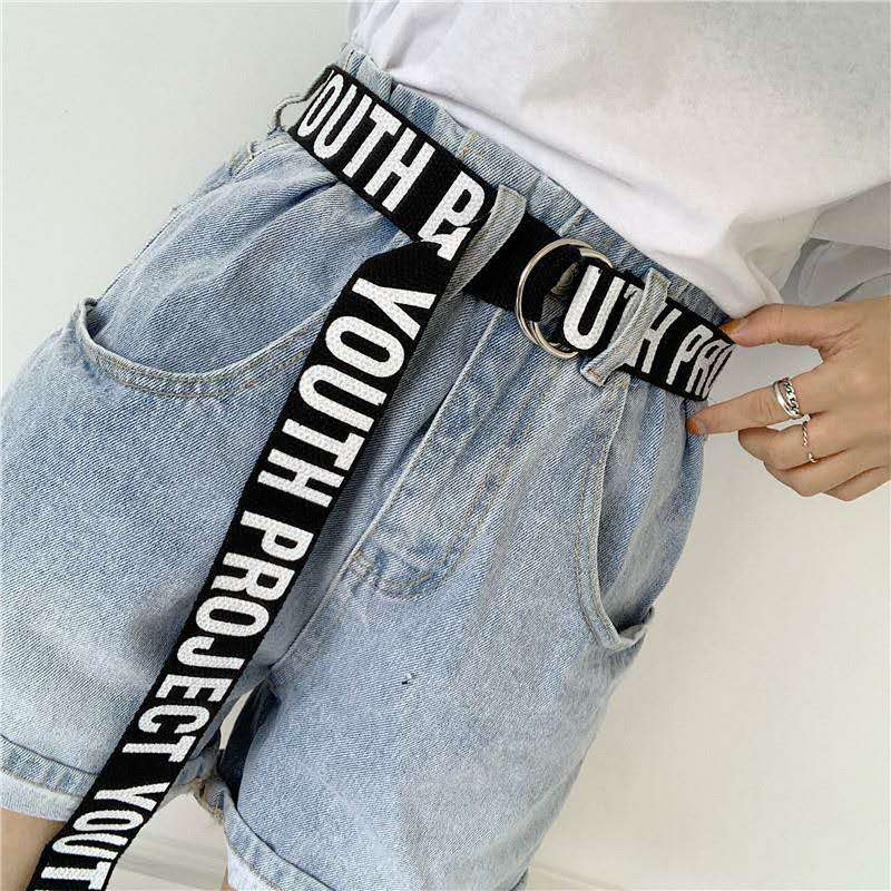 Women Casual Belts Punk Long Canvas  Student Letter Ladies Waist Strap Wild Jeans Trouser Black White Female Waist Belts