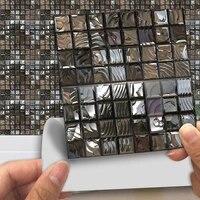 Autocollant mural impermeable en PVC  carreaux de mosaique gris fonce  imprime en transfert 2D  pour cuisine salle de bains  10 pieces