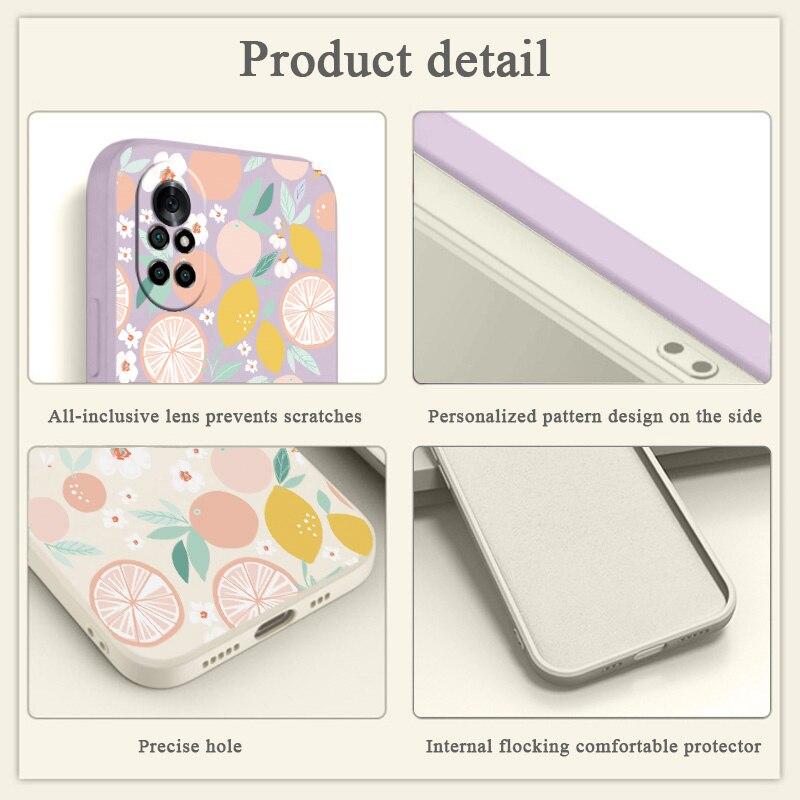 Fruit Liquid Silicone Phone Case For Huawei Nova 8 7 Pro SE 6 SE 5 Pro 5Z 5I 5Ipro 5T 4 4E Soft Back Cover