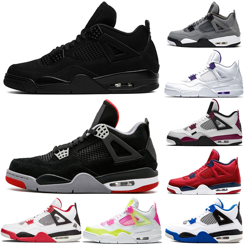 New Basketball Shoes 4 Black Cat Union Guava Sail Bred Outdoors Sports Sneakers Zapatillas Size 40-47