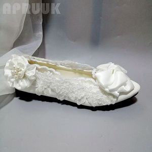 White lace butterfly-knot saltin bow flats wedding shoes bride sweet fairy design bridal bridesmaid flower girl party dress shoe