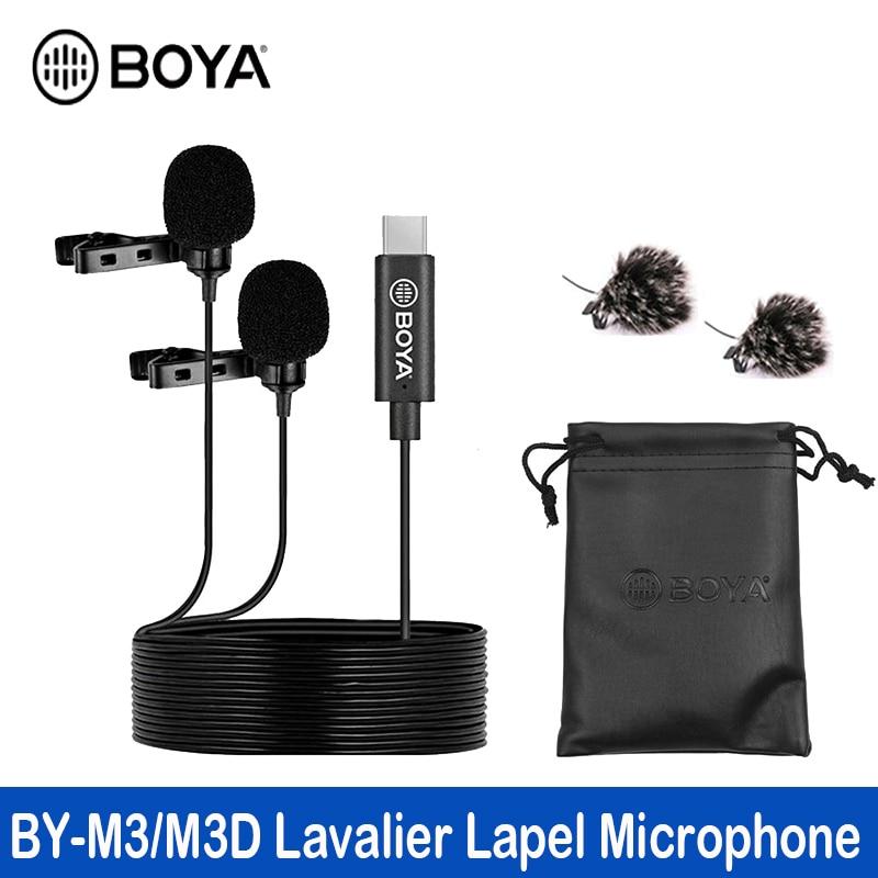 BOYA BY-M3D ميكروفون مزدوج الرأس Lavalier التلبيب مكثف ميكروفون مع كابل 6 متر متوافق مع واجهة Type-C