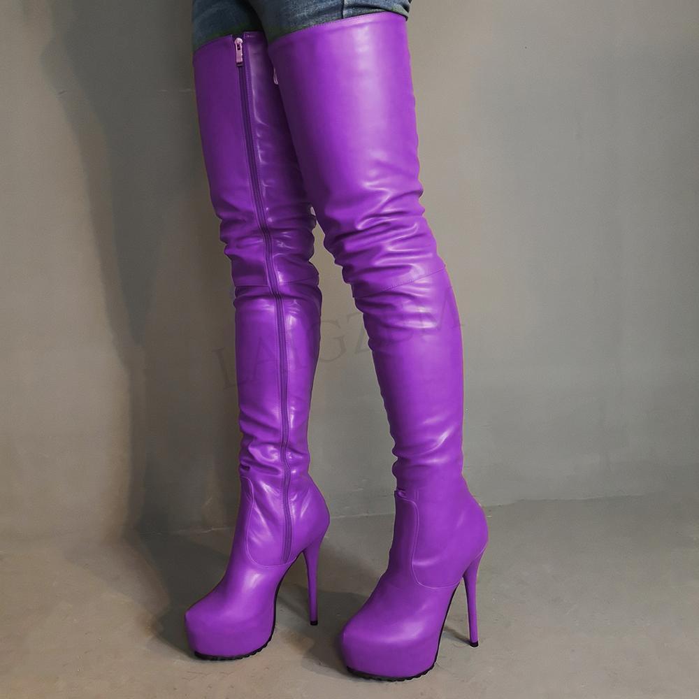 LAIGZEM 2020-حذاء نسائي عالي الفخذ ، جلد صناعي قابل للتمدد فوق الركبة ، حذاء بكعب سميك ، حذاء شتوي بسحاب ، مقاس كبير 52