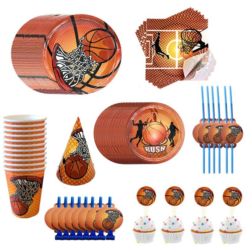 Школьные баскетбольные тематические игры, вечерние украшения, салфетка под тарелку кружку, соломенный баннер для детей, мальчиков, счастли...
