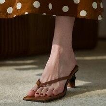 Marque de mode fendu bout ouvert plage pantoufles chaton talons noir chaussures femme sandales sexy été diapositives dames tenue décontractée chaussures