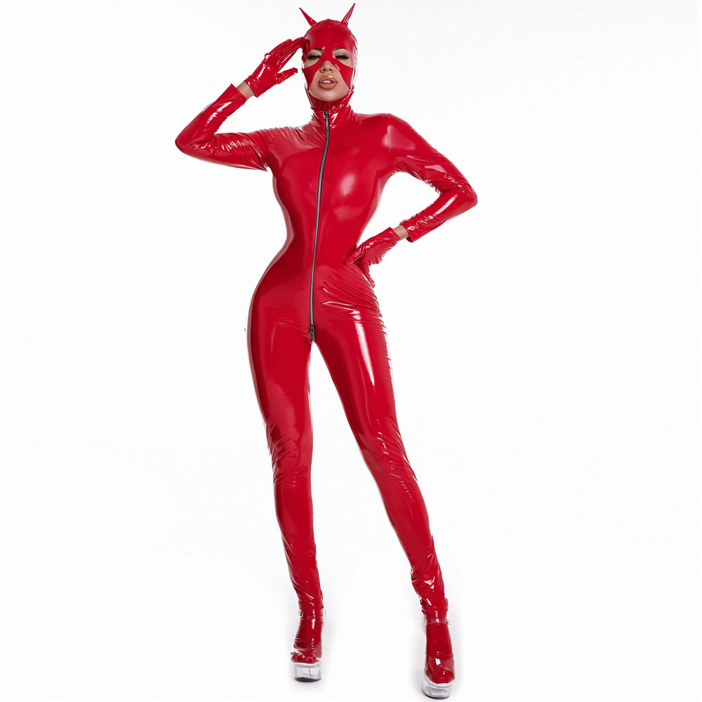 Sexy Women Latex PVC Faux Leather Bodysuits Nightclub Party Sexy Erotic Jumpsuits Zipper Open Crotch Shiny Sexy Tight Wet Look