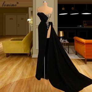 Newest Elegant Black Evening Dresses Long Velvet Spaghetti Celebrity Dresses With Side Split Fashion Couture Sexy Prom Dresses