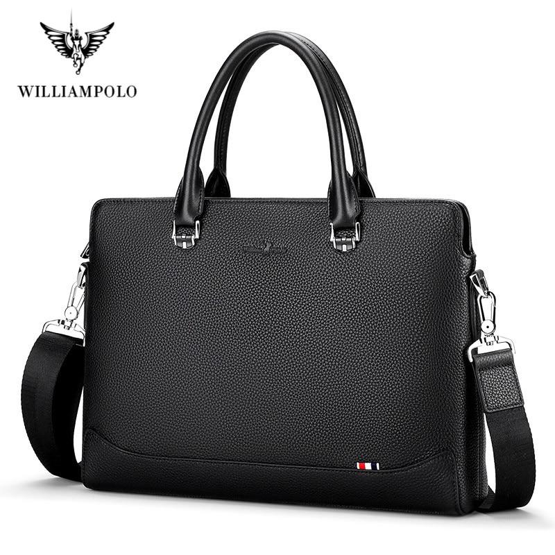 WILLIAMPOLO Men's Leather Business Briefcase Casual Men's Shoulder Bag Messenger Bag Men's Laptop Handbag Men's Travel Bag