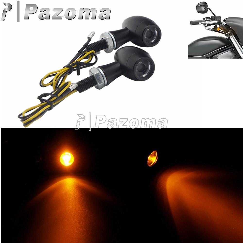 2 قطعة 8 مللي متر دراجة نارية صغيرة رصاصة مصباح إشارة الانعطاف LED علامة تشغيل مؤشر ضوء ل هارلي المروحيات الطرادات مقهى المتسابق