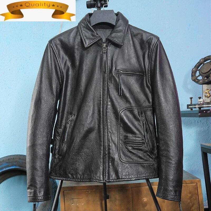 2021 Short Leather Genuine Jacket Men 100% Cow Leather Coat High Quality Spring Autumn Mens Leather Jackets Chaquetas Hombre