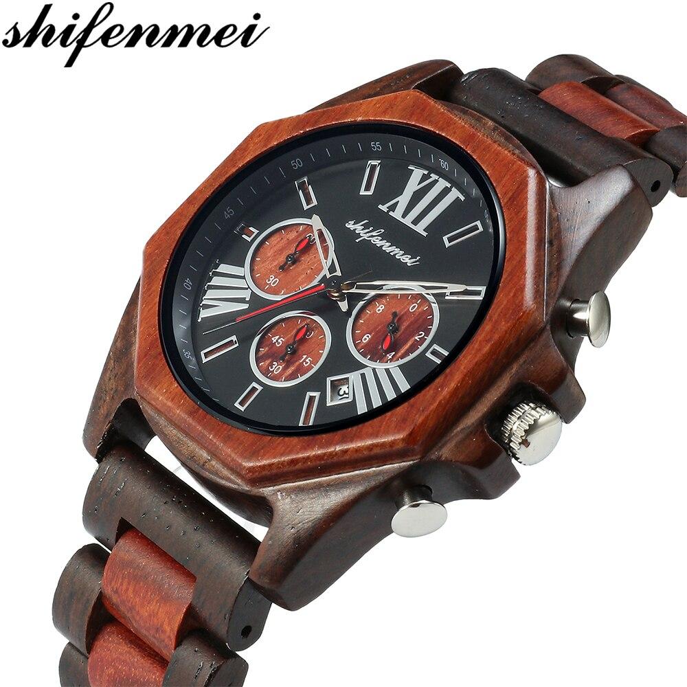 Relojes de cuarzo Shifenmei de madera para hombre, relojes de lujo para regalo de papá, reloj de mujer, se acepta Logo grande de madera, relojes de lujo de cuarzo