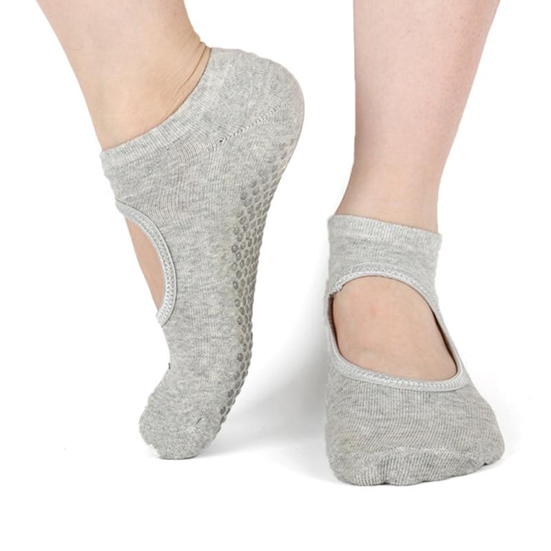 Silicone Non-Slip Yoga Socks For Woman Pilates Barre Dance Slippers Ballet Breathable Ladies Sport Foot Scoken Backless Sock