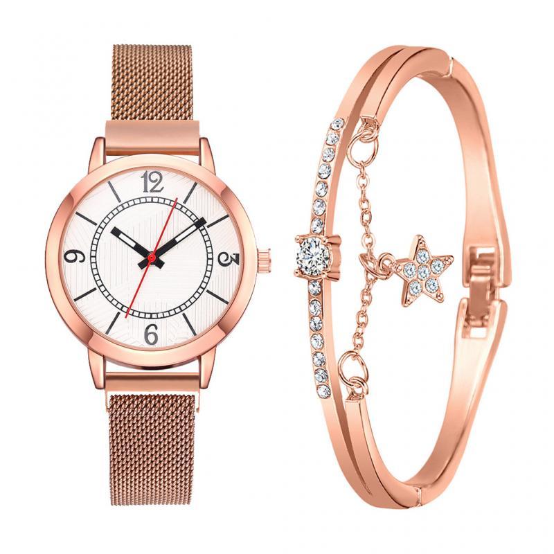 Women Watch 2pcs Fashion Bracelet Set Simple Ladies Watch Female Clock Luxury Magnet Buckle Rose Gold Women Watches Reloj Mujer